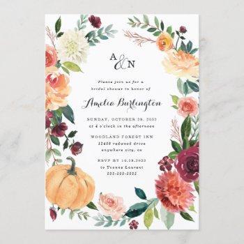 pumpkin fall elegant floral rustic bridal shower invitation
