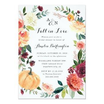 Pumpkin Fall In Love Autumn Floral Bridal Shower Invitation Front View