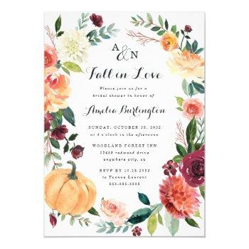 pumpkin fall in love autumn floral bridal shower invitation