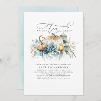 pumpkins succulents fall bridal shower tea party invitation