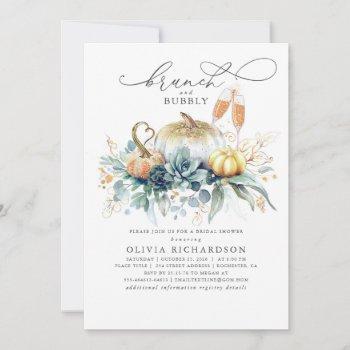 pumpkins succulents greenery fall bridal shower invitation