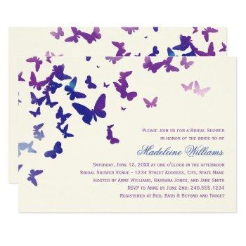 purple and blue butterflies elegant bridal shower invitation