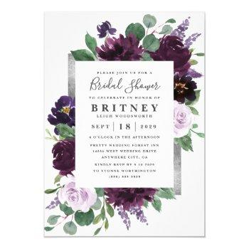 purple and gray silver watercolor bridal shower invitation