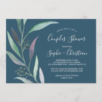 purple and green eucalyptus | blue couples shower invitation