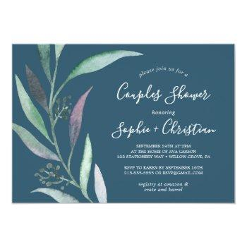 purple and green eucalyptus | blue couples shower invitation