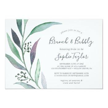 purple and green eucalyptus brunch and bubbly invitation