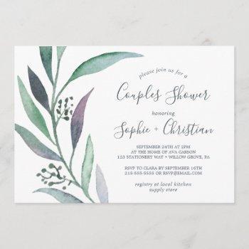 purple and green eucalyptus couples shower invitation