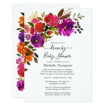 purple and orange floral drive by shower invitation