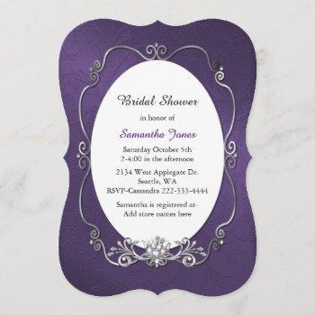 purple and silver bridal shower invitation