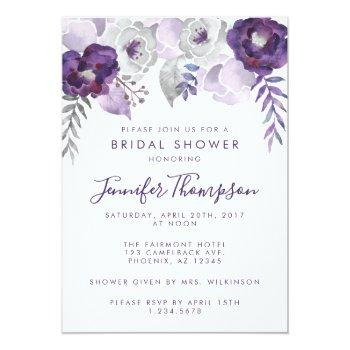Purple And Silver Watercolor Floral Bridal Shower Invitation Front View