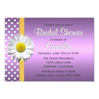 purple and yellow daisy bridal shower invitation