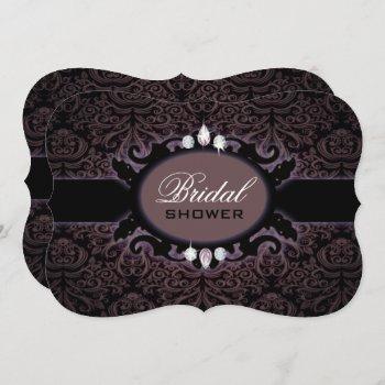 purple black damask victorian gothic bridal shower invitation