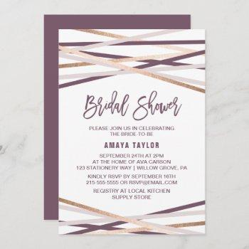 purple blush and rose gold streamers bridal shower invitation
