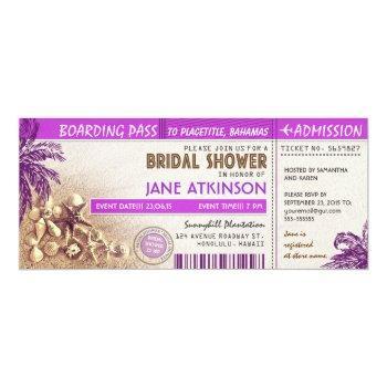 purple boarding pass tickets for bridal shower invitation