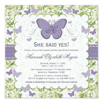 purple butterfly bridal shower invitations invites