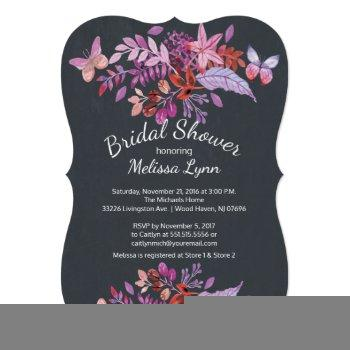 purple butterfly floral fall bridal shower invitation