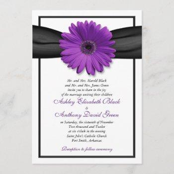 purple daisy black ribbon wedding invitation