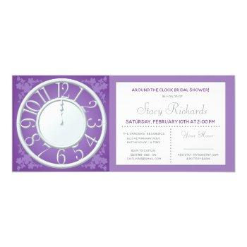 purple floral around the clock shower invite