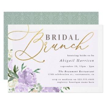 purple floral gold script lavender bridal brunch invitation
