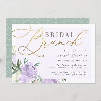 purple floral gold script lavender bridal brunch invitation
