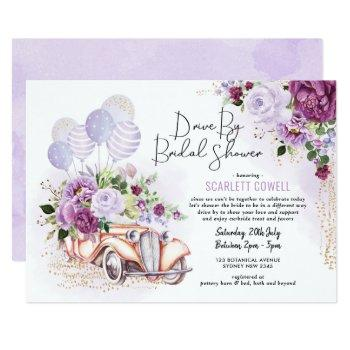 purple floral retro car drive by bridal shower invitation