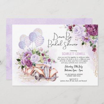 purple floral retro car drive by bridal shower invitation
