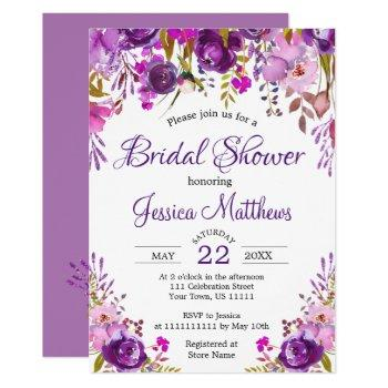 purple floral romantic bridal shower invitation