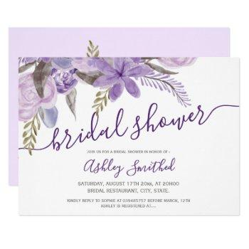 purple floral watercolor typography bridal shower invitation
