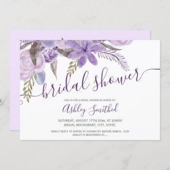 purple floral watercolor typography bridal shower invitation