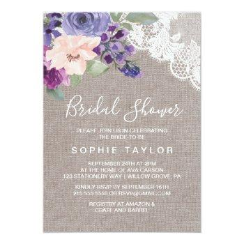 purple flowers and lace bridal shower invitation