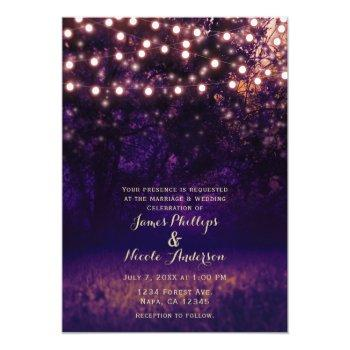 purple forest sunset string lights rustic wedding invitation