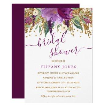 purple gold confetti floral bridal shower invite