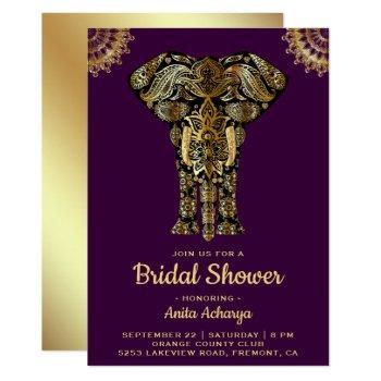 purple gold elephant indian bridal shower invite