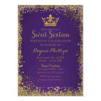 purple & gold glitter crown sweet 16 party invitation