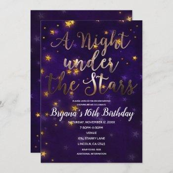 purple & gold night under the stars celestial invitation