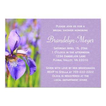 purple iris flower damask bridal shower invitation