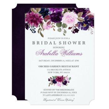 purple lavender floral boho bridal shower invitation