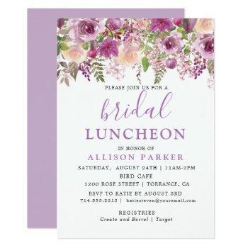 purple lavender floral bridal luncheon invitation