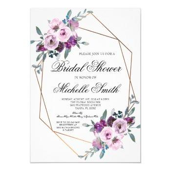purple lavender floral geometric bridal shower invitation