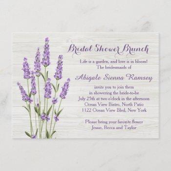 purple lavender flowers on wood bridal shower invitation