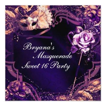 purple masquerade mask & rose elegant invitations