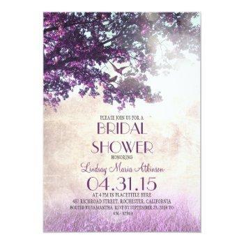 purple old oak tree & love birds bridal shower invitation