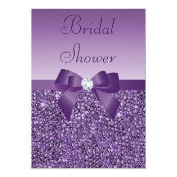 purple printed sequins bow & diamond bridal shower invitation
