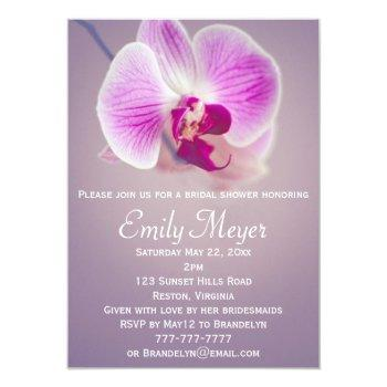 purple radiant orchid bridal shower invitation