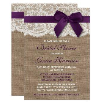 purple ribbon on burlap & lace bridal shower invitation