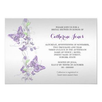 purple silver butterfly swirl invitation