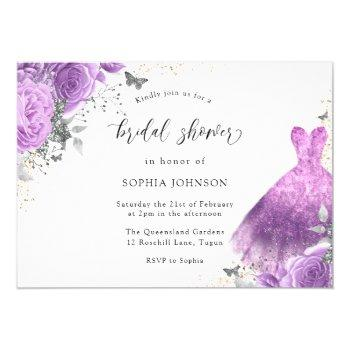 purple silver dress & rose butterfly bridal shower invitation