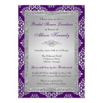 purple, silver glitter damask bridal shower invite