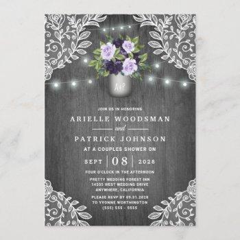 purple silver gray floral rustic couples shower invitation
