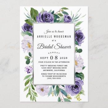 purple silver gray watercolor floral bridal shower invitation